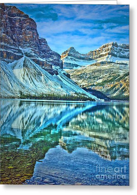 Snow Capped Greeting Cards - Peace at Bow Lake Greeting Card by Tara Turner