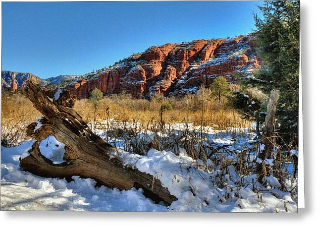 Red Rock Crossing Greeting Cards - Peace at the Crossing Greeting Card by Thomas  Todd