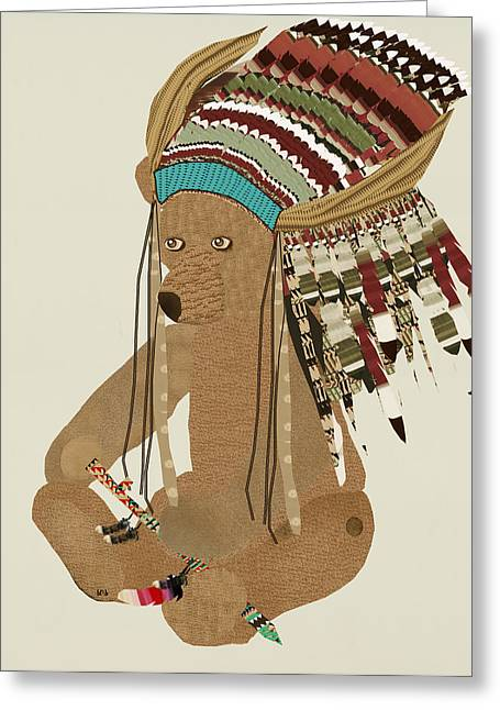 Colorful Indian Chief Greeting Cards - Peace Bear  Greeting Card by Bri Buckley
