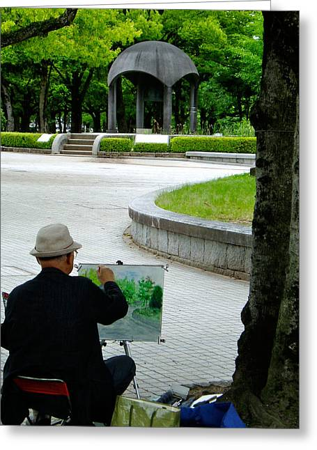 Hiroshima Peace Memorial Greeting Cards - Peace Bell Painter Greeting Card by Duomo Photography