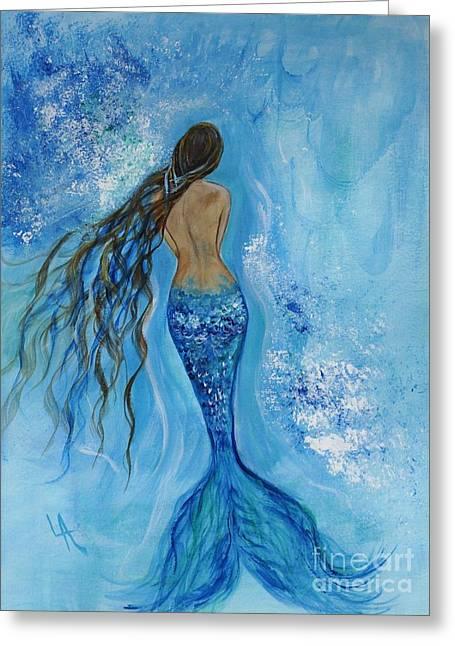 Siren Underwater Greeting Cards - Peace Beneath Greeting Card by Leslie Allen