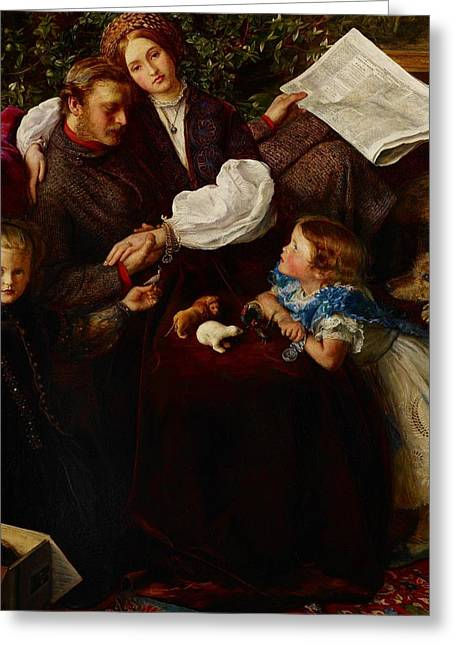 Family Time Paintings Greeting Cards - Peace Concluded Greeting Card by Sir John Everett Millais