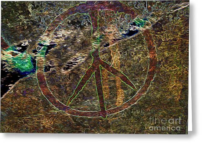 Counterculture Mixed Media Greeting Cards - Peace Greeting Card by Dan Julien