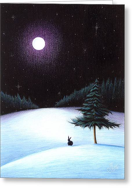 Snowy Night Drawings Greeting Cards - Peace Greeting Card by Danielle R T Haney