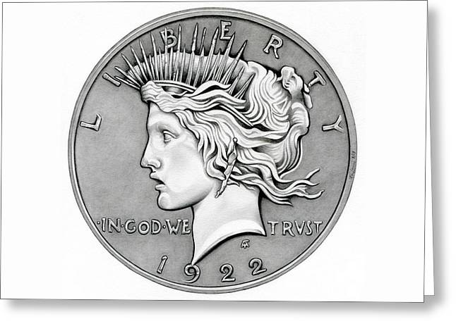 Silver Coins Greeting Cards - Graphite Peace Dollar Greeting Card by Fred Larucci