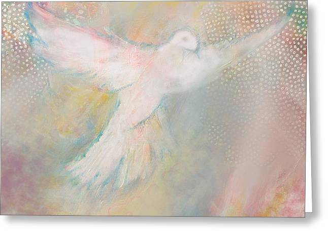 Scriptural Greeting Cards - Peace Dove Greeting Card by Anne Cameron Cutri