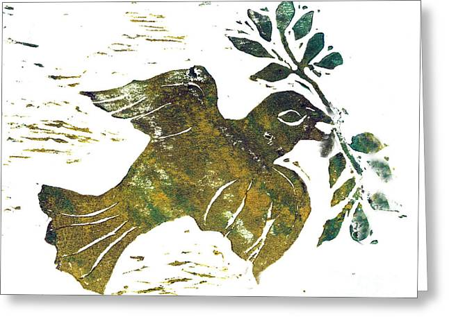 Positive Negative Design Greeting Cards - Peace Dove Greeting Card by Ellen Miffitt