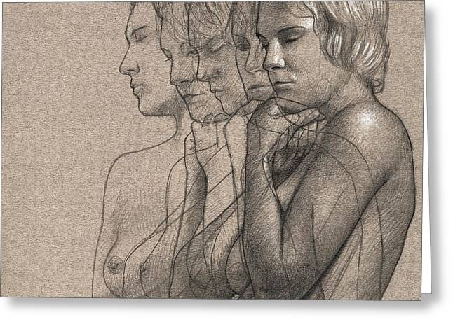 Figure Drawings Greeting Cards - Peace for Five Greeting Card by Dirk Dzimirsky