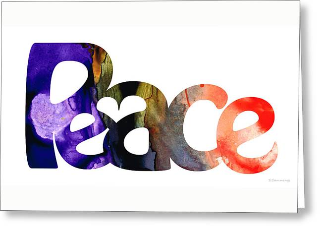 Peace Mixed Media Greeting Cards - Peace Full 1 by Sharon Cummings Greeting Card by Sharon Cummings