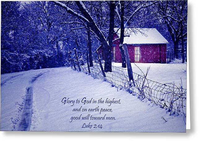 Christmas Greeting Photographs Greeting Cards - Peace Good Will Toward Men Greeting Card by David and Carol Kelly
