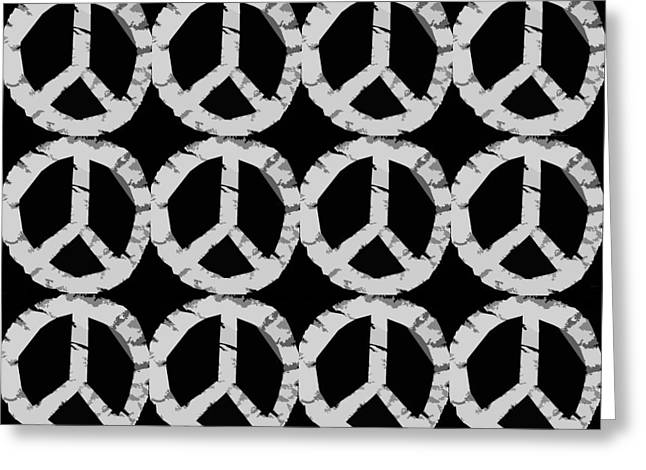 Ideal Digital Art Greeting Cards - Peace in Black and White Greeting Card by Michelle Calkins