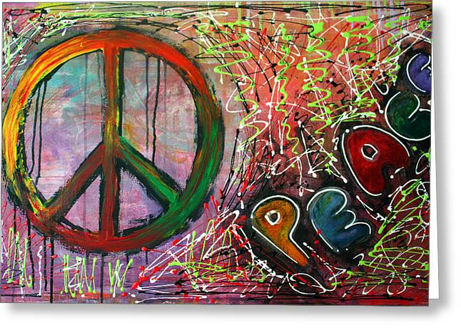 Peace Symbol Greeting Cards - Peace Greeting Card by Laura Barbosa