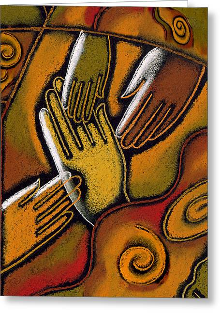 Four People Greeting Cards - Peace Greeting Card by Leon Zernitsky