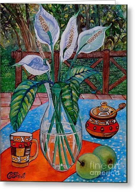 Peace Lilies On The Patio Greeting Card by Caroline Street