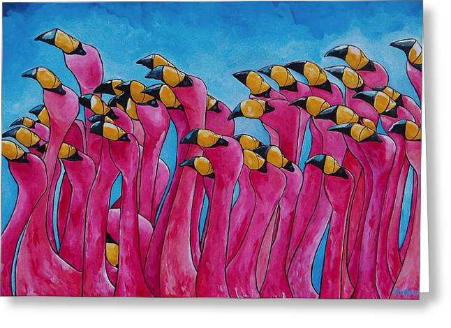 Florida House Greeting Cards - Peace Love And Flamingos Greeting Card by Patti Schermerhorn