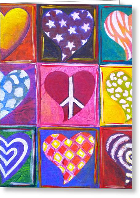 Whimsical Mixed Media Greeting Cards - Peace Love and Heart Art Greeting Card by Debi Starr