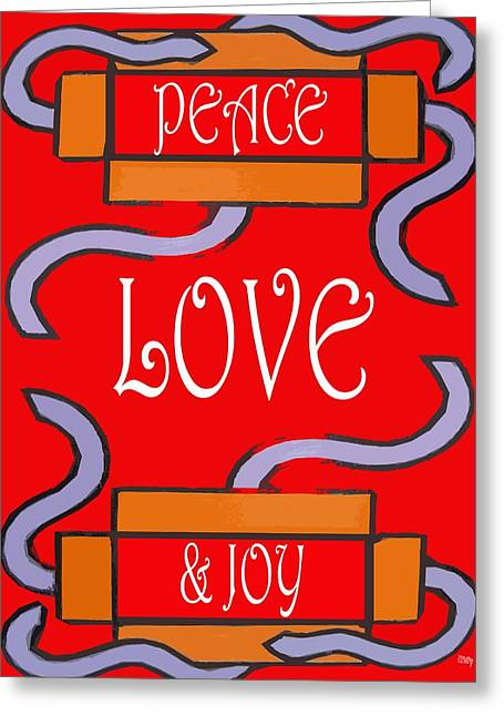 Wishes Mixed Media Greeting Cards - Peace Love And Joy Greeting Card by Patrick J Murphy