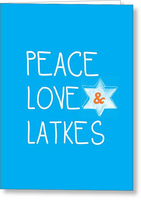 Blue And Orange Greeting Cards - Peace Love And Latkes Greeting Card by Linda Woods