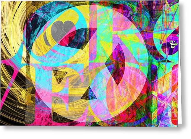 Civil Rights Greeting Cards - Peace Love and Rock and Roll Return To The Summer of Love 20140605 v2 Greeting Card by Wingsdomain Art and Photography