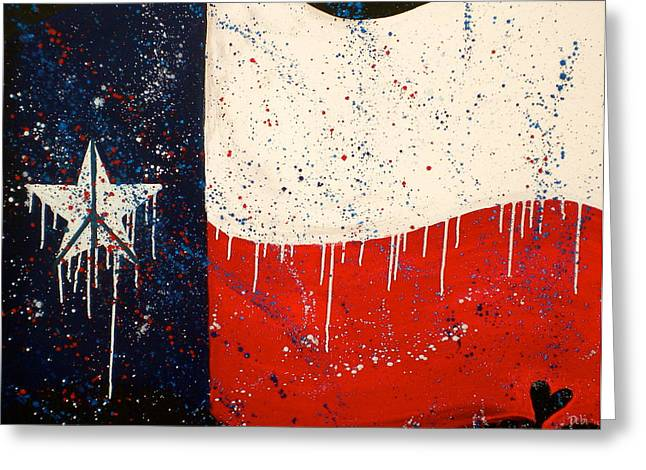 Peace Love and Texas Greeting Card by Debi Starr