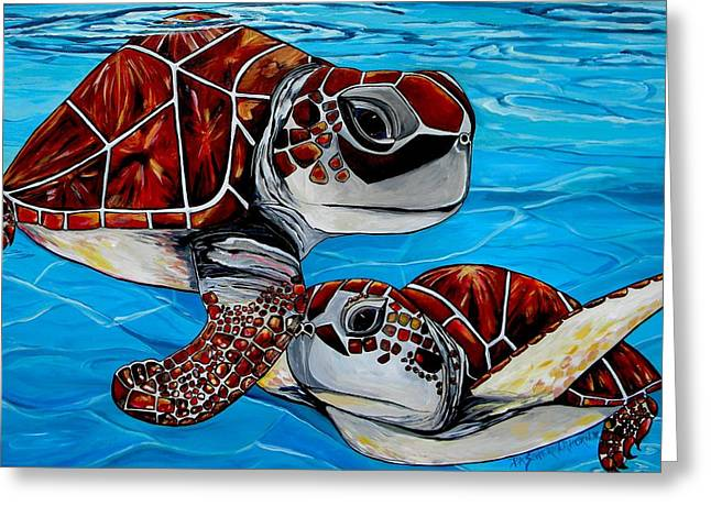 Peace Love And Turtles Greeting Card by Patti Schermerhorn