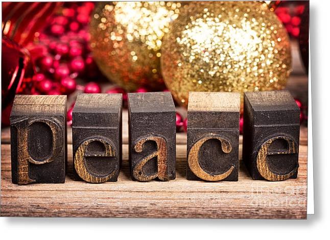 Christmas Season Blocks Greeting Cards - Peace message Greeting Card by Jane Rix