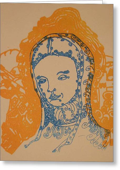 Linocut Drawings Greeting Cards - Peace of Madonna Greeting Card by Stephen Wiggins