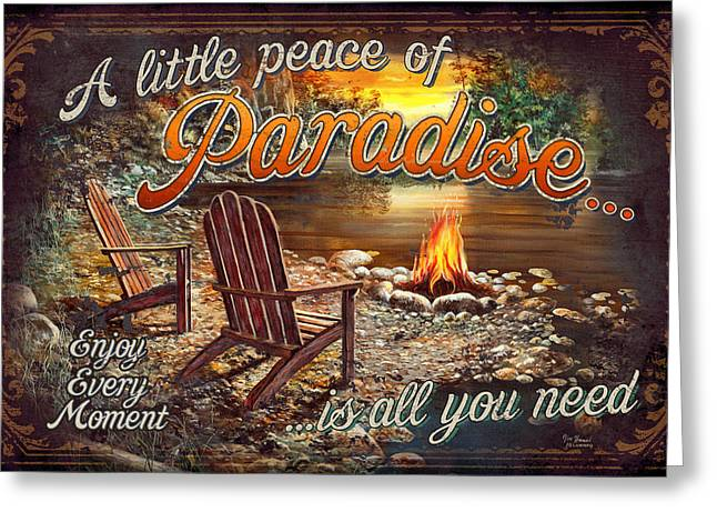 Cabin Greeting Cards - Peace of Paradise Greeting Card by JQ Licensing