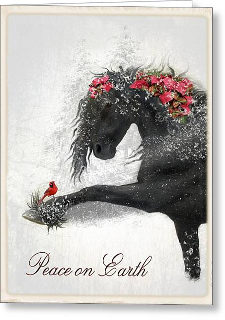 Ribbon Greeting Cards - Peace on Earth Greeting Card by Fran J Scott