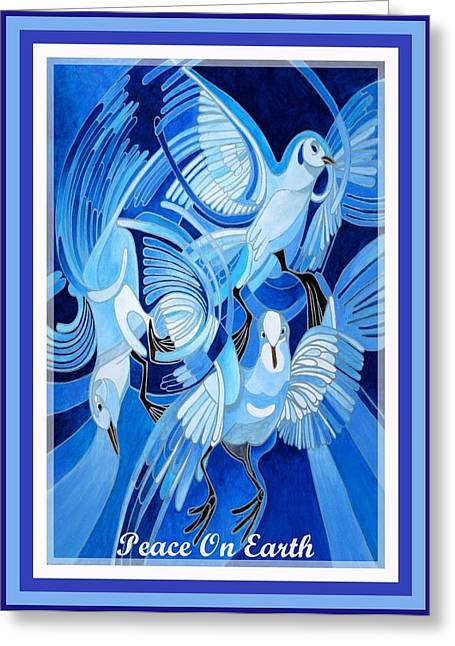 """peace And Love"" Greeting Cards - Peace On Earth Greetings With Doves  Greeting Card by Tracey Harrington-Simpson"