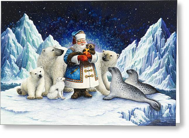 Polar Bears Greeting Cards - Peace On Earth  Greeting Card by Lynn Bywaters