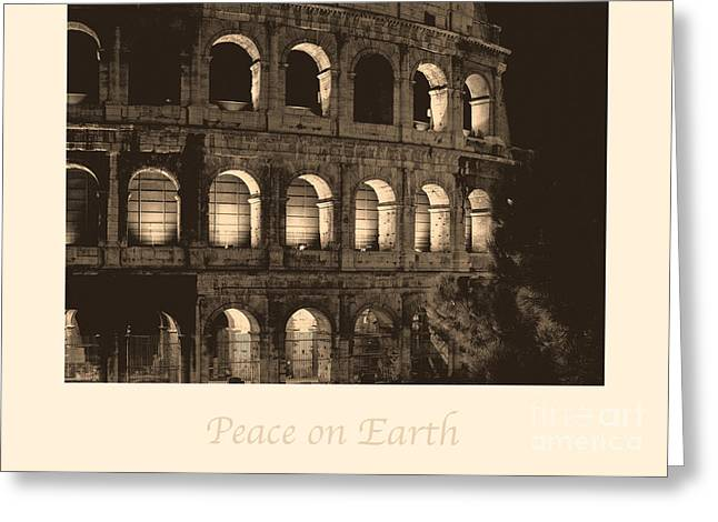 X-mas Card Greeting Cards - Peace on Earth with Colosseum Greeting Card by Prints of Italy