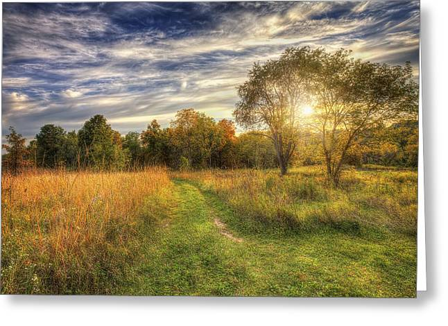 The Nature Center Greeting Cards - Peace On the Prairie - Fall sunset at Retzer Nature Center in Waukesha Wisconsin Greeting Card by The  Vault - Jennifer Rondinelli Reilly
