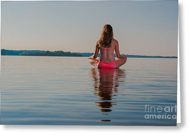 Floating Girl Greeting Cards - Peace on the water 2 Greeting Card by Jh Photos
