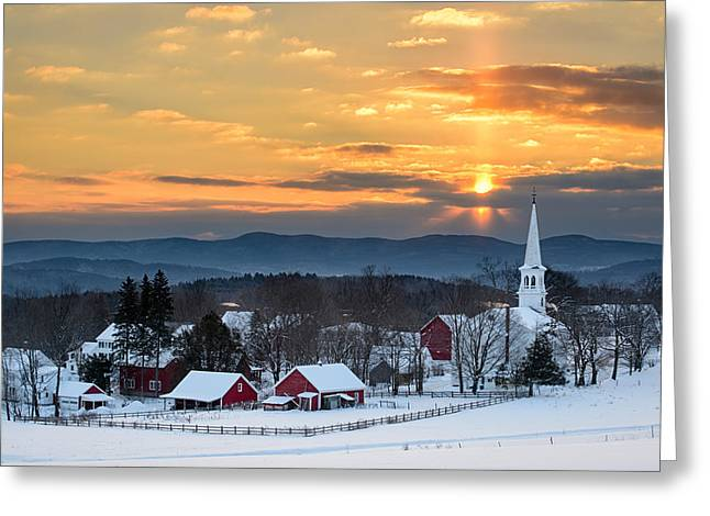 Vermont Village Greeting Cards - Peace over Peacham Greeting Card by Michael Blanchette