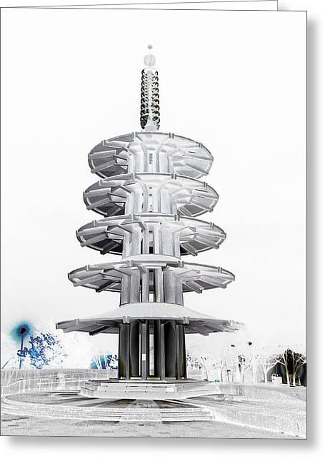 """japan Town"" Greeting Cards - Peace Pagoda - Japan Town - San Francisco Greeting Card by Daniel Hagerman"