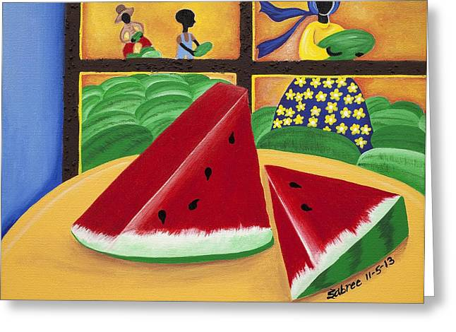 Watermelon Greeting Cards - Peace Greeting Card by Patricia Sabree