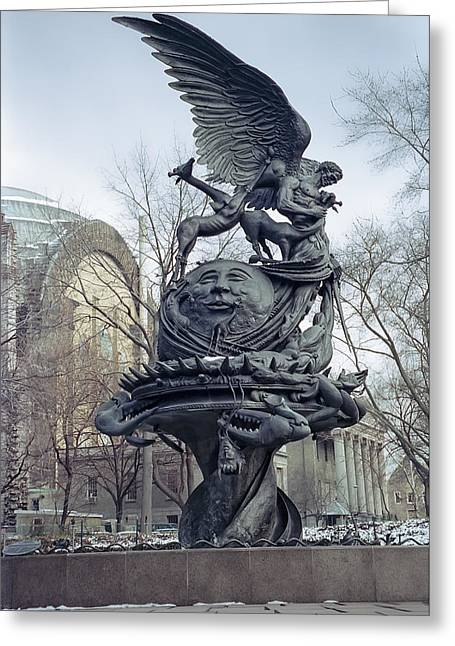 Man In The Moon Greeting Cards - PEACE SCULPTURE in NEW YORK Greeting Card by Daniel Hagerman