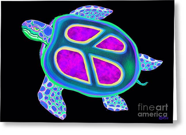 Sea Life Digital Greeting Cards - Peace Sea Turtle Too Greeting Card by Nick Gustafson
