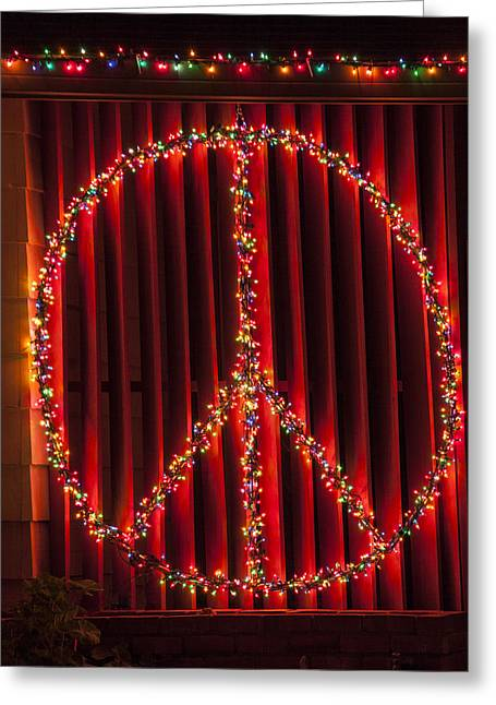 Peace Sign Greeting Cards - Peace Sign Christmas Lights Greeting Card by Garry Gay