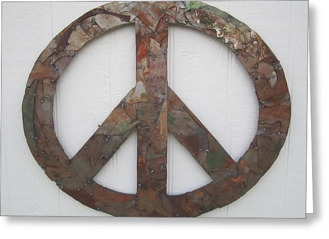 Farm Sculptures Greeting Cards - Peace Sign from Pieces recylced metal wall sculpture Greeting Card by Robert Blackwell