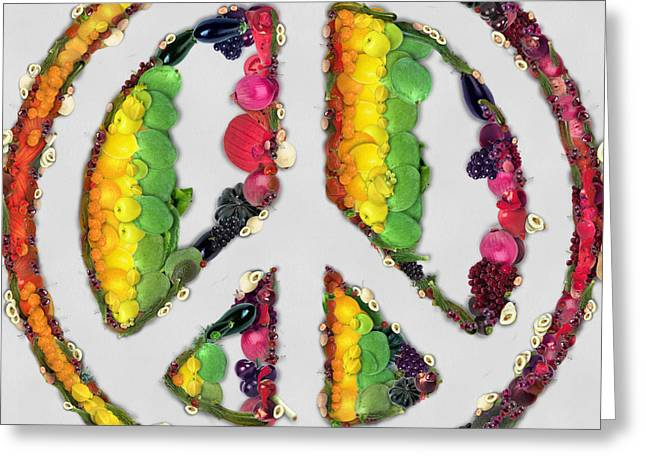 Mango Greeting Cards - Peace sign fruits and vegetables Greeting Card by Eti Reid