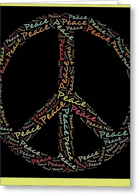 """peace Love Sign"" Greeting Cards - Peace Symbol - 0202 Greeting Card by Variance Collections"