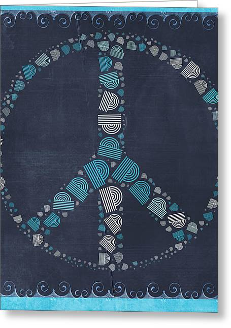 """peace Love Sign"" Greeting Cards - Peace Symbol Design - btq19at2 Greeting Card by Variance Collections"
