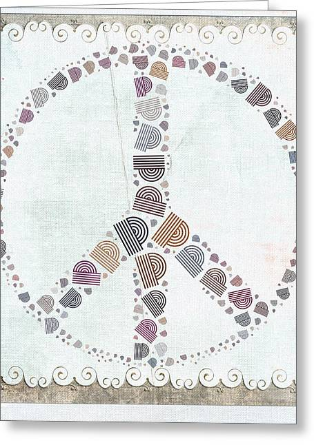 Square Format Greeting Cards - Peace Symbol Design - s76at02 Greeting Card by Variance Collections