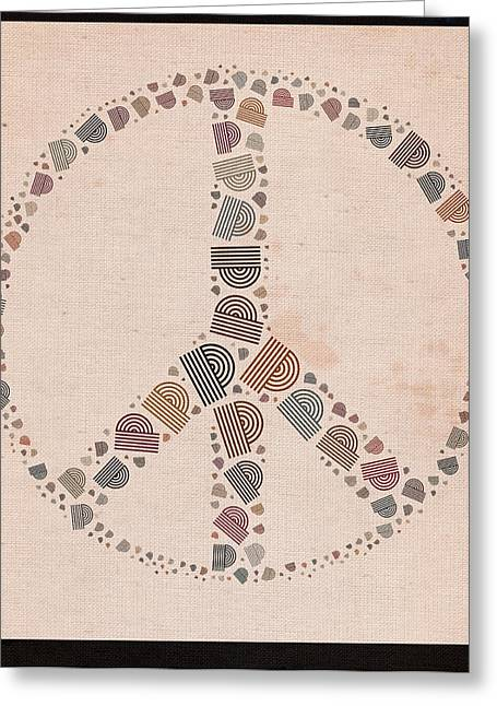 """peace Love Sign"" Greeting Cards - Peace Symbol Design - s77at01 Greeting Card by Variance Collections"