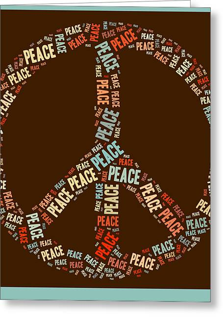 """peace Love Sign"" Greeting Cards - Peace Symbol Retro - 0103b  Greeting Card by Variance Collections"