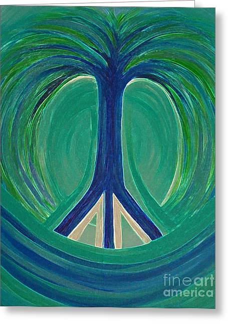 Cooperation Greeting Cards - Peace Tree Greeting Card by First Star Art