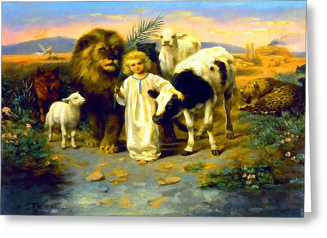 Lion And Lamb Greeting Cards - Peace Greeting Card by William Strutt