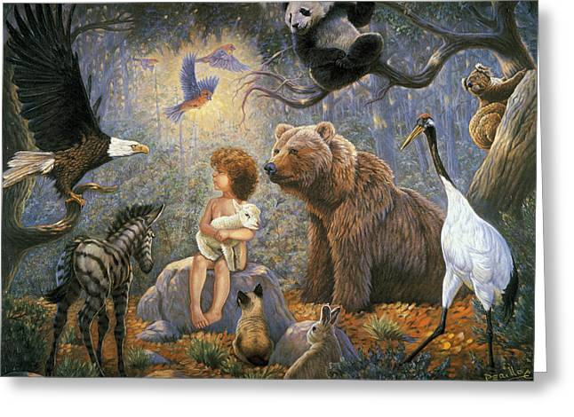Child Care Mixed Media Greeting Cards - Peaceable Kingdom Greeting Card by Gregory Perillo